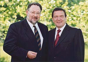 Walter Schöler und Bundeskanzler Gerhard Schröder